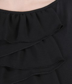 Elastic jersey dress with veil ruffles