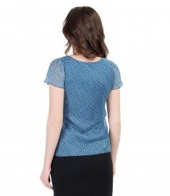 Printed silk blouse with fins