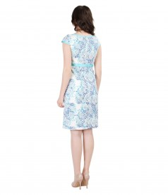 Brocade cotton dress with floral patterns