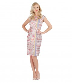 Printed dress with waist cord and folds