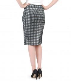 Black-white skirt from foffered elastic cotton