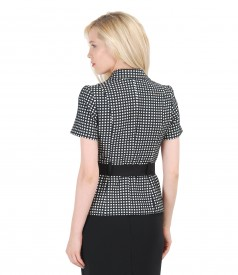 Black-white office jacket from foffered elastic cotton