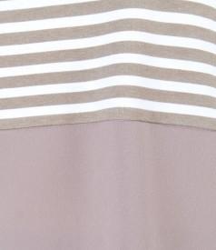 Beige-white elastic jersey blouse