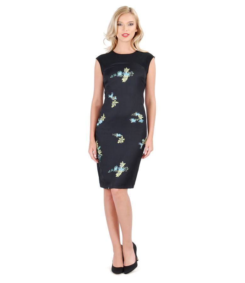 Elastic fabric dress with floral insertion