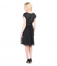 Short evening veil dress with sequins trim