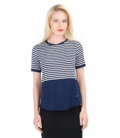 Navy-white elastic jersey blouse