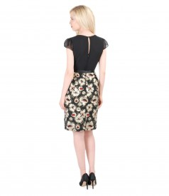 Short evening dress from cotton brocade with floral patterns