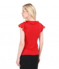 Jersey t-shirt with jabot and veil sleeves