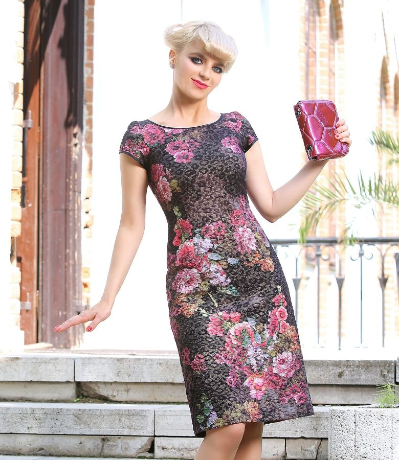 Elegant dress from multicolored elastic brocade with metallic thread