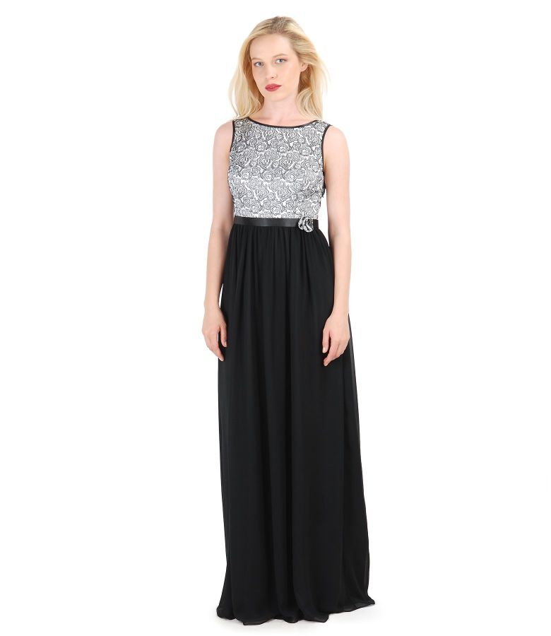 Long evening dress with brocade corsage with floral patterns