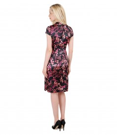 Short evening dress from printed elastic satin