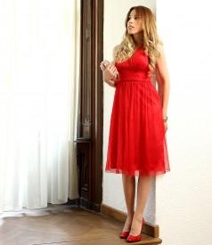 Short evening silk dress