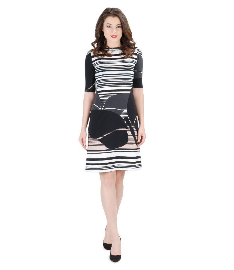 Elastic jersey printed dress