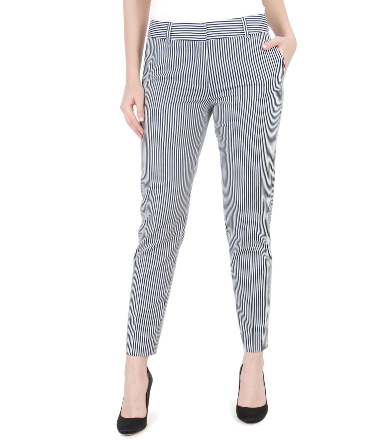 Printed elastic cotton trousers with pockets