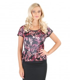 Elastic jersey blouse with printed elastic satin front