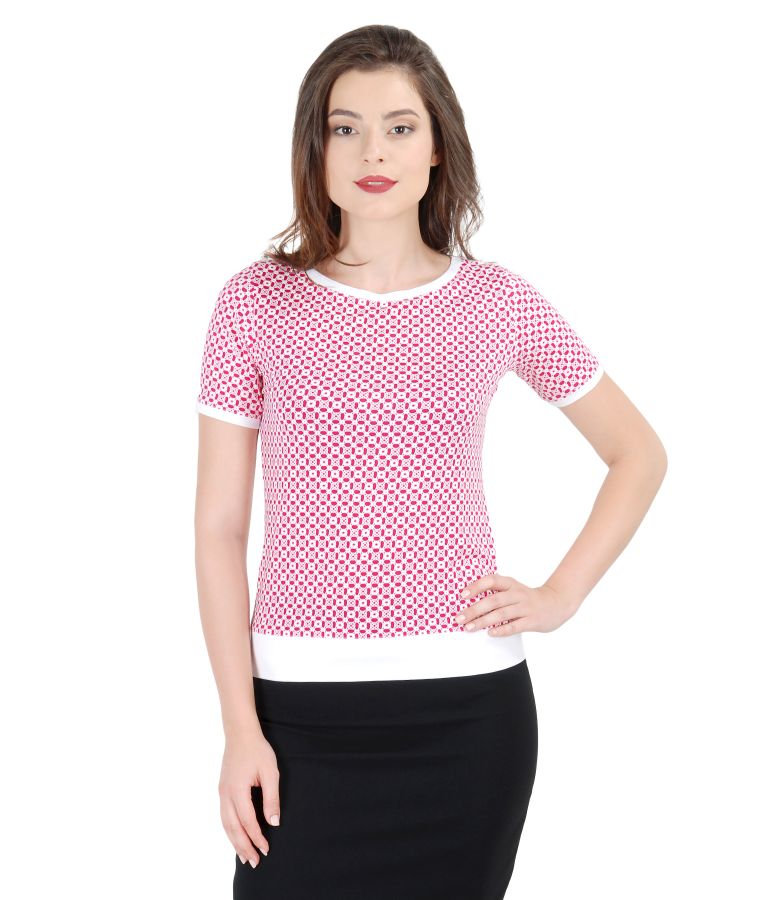 Elastic jersey blouse with printed front