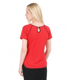 Elastic jersey blouse with trim