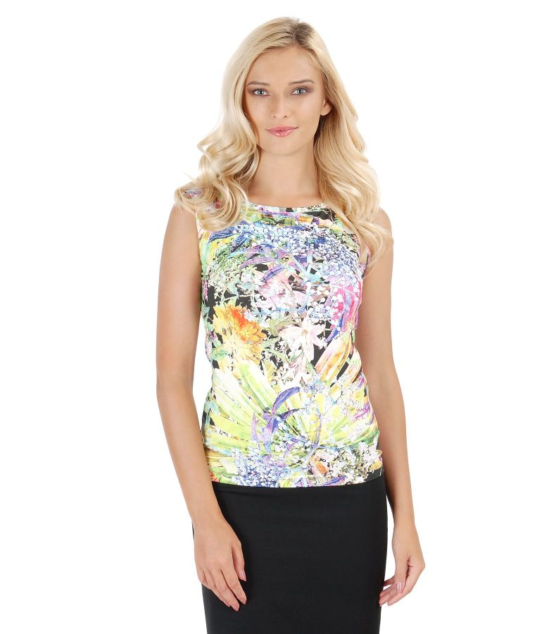Sleeveless printed jersey t-shirt