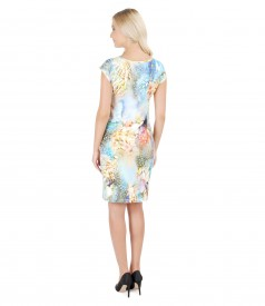 Printed jersey drop shoulder dress