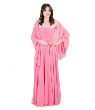 Long evening veil dress with veil wrap