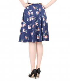 Elastic printed jersey flaring skirt