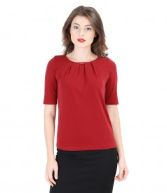 Uni jersey blouse with folds and trim
