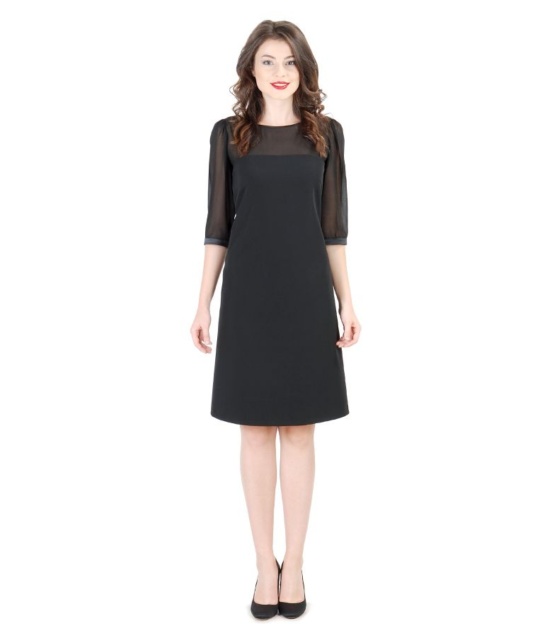 Short evening dress with veil trim