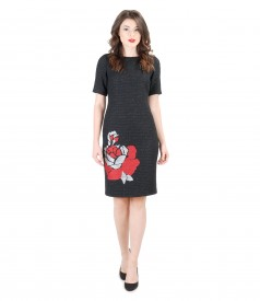 Embroidered elegant dress with metallic thread