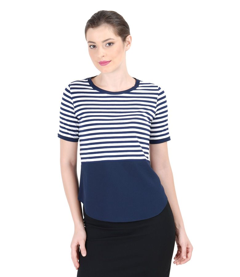 White-navy blue elastic jersey blouse with basque