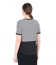 Black and white elastic jersey blouse with basque