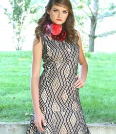 Short elastic brocade evening dress with metal thread