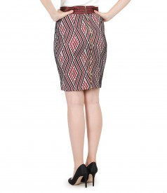 Short elegant elastic brocade skirt with detachable back zipper