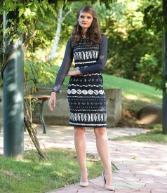 Elegant black&white elastic brocade dress
