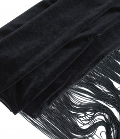 Elastic velvet scarf with fringed trim