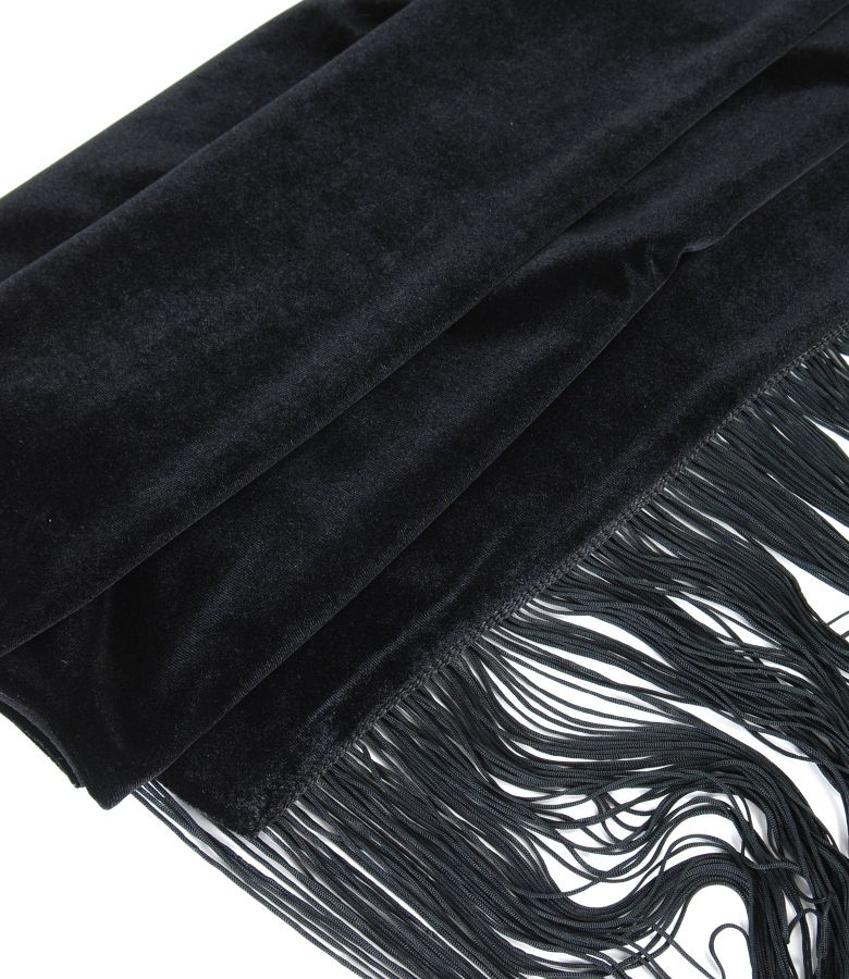 Elastic velvet scarf with fringed trim