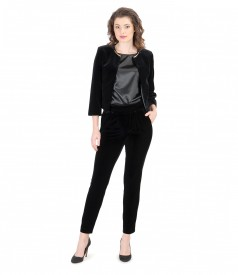 Black elastic velvet pants with bolero