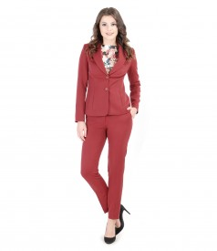 Elastic fabric women office suit with pockets