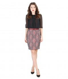 Elegant outfit with elastic broca short skirt