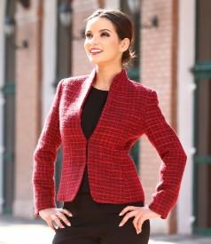 Elegant jacket with multicolored woolen loops