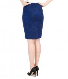 Elegant skirt with multicolored woolen loops