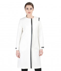 Cream overcoat with trim and pockets