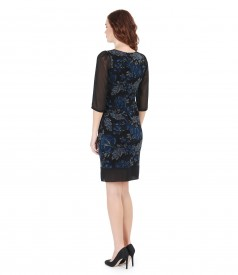 Elegant brocade dress with velvet and veil