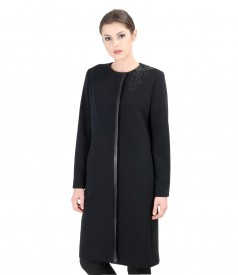 Black overcoat with trim and pockets