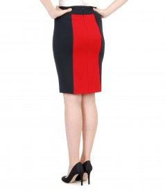 Thick elastic jersey skirt with inserts