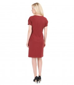 Elastic fabric dress with ply sleeves