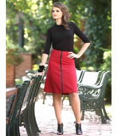 Flaring elastic fabric skirt with inserts