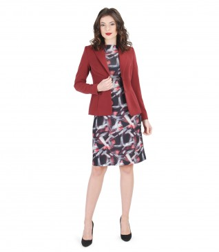 Printed elastic jersey dress and jacket