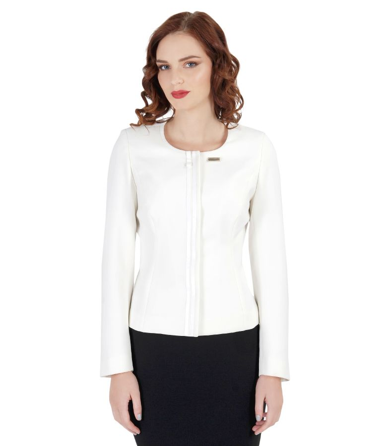 Elegant elastic fabric jacket with trim
