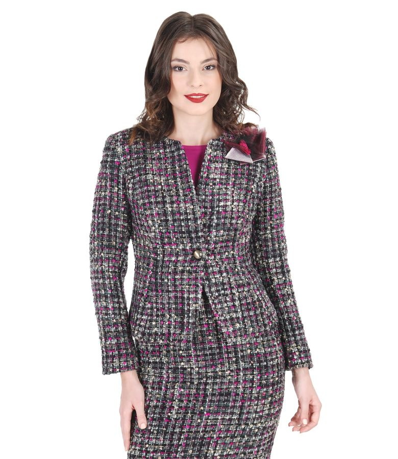 Elegant multicolored woolen loops jacket