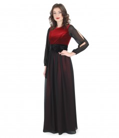 Long evening dress with elastic velvet and veil scarf